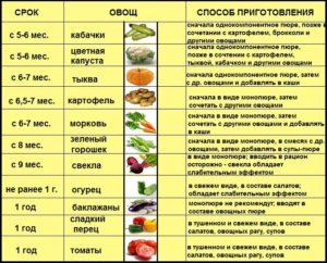 Таблица ввода овощей в прикорм ребенка